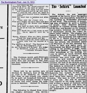 Le Selkirk (George Bothwell) 13 juin 1913